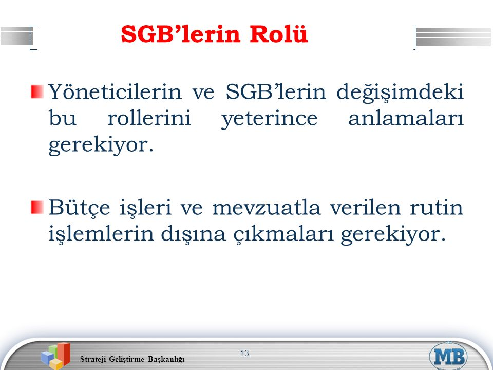 SGB'lerin Rolü Yöneticilerin ve SGB'lerin değişimdeki bu rollerini yeterince anlamaları gerekiyor.