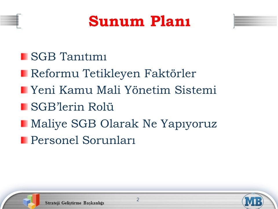 Sunum Planı SGB Tanıtımı Reformu Tetikleyen Faktörler