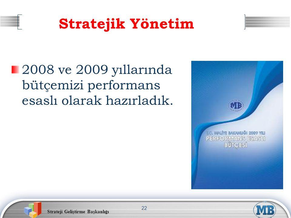 Stratejik Yönetim 2008 ve 2009 yıllarında bütçemizi performans esaslı olarak hazırladık.