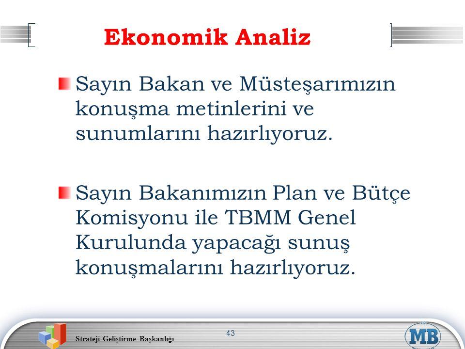 Ekonomik Analiz Sayın Bakan ve Müsteşarımızın konuşma metinlerini ve sunumlarını hazırlıyoruz.