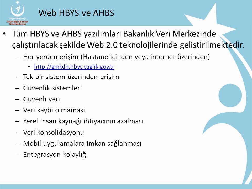 Web HBYS ve AHBS Tüm HBYS ve AHBS yazılımları Bakanlık Veri Merkezinde çalıştırılacak şekilde Web 2.0 teknolojilerinde geliştirilmektedir.