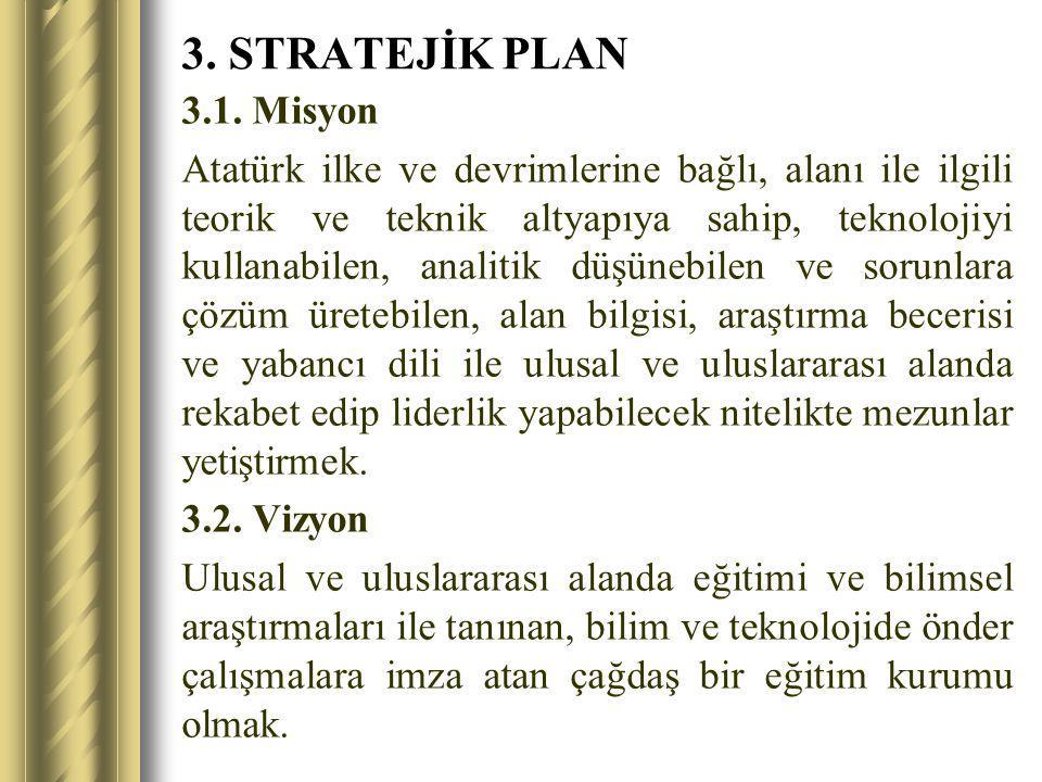 3. STRATEJİK PLAN 3.1. Misyon.