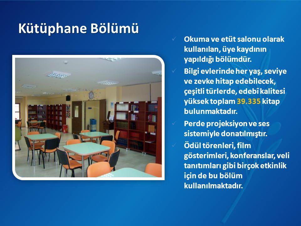 Kütüphane Bölümü Okuma ve etüt salonu olarak kullanılan, üye kaydının yapıldığı bölümdür.