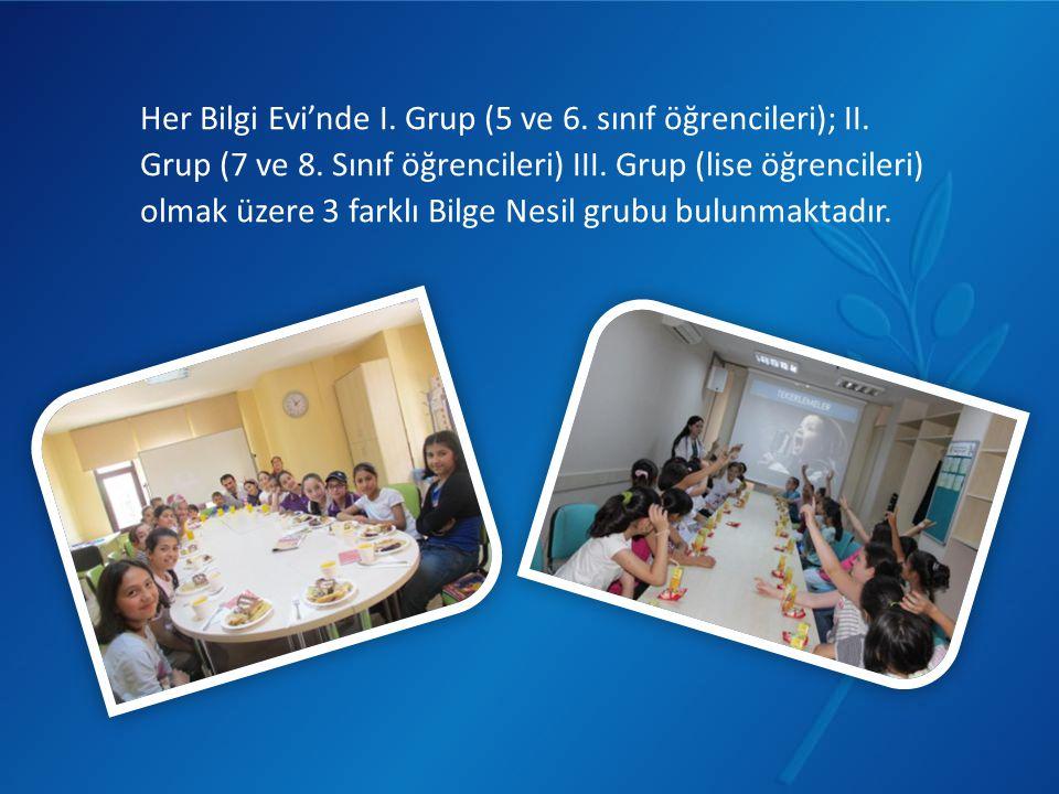 Her Bilgi Evi'nde I. Grup (5 ve 6. sınıf öğrencileri); II.