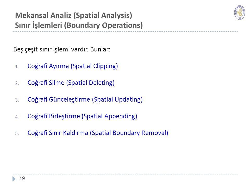 Mekansal Analiz (Spatial Analysis) Sınır İşlemleri (Boundary Operations)