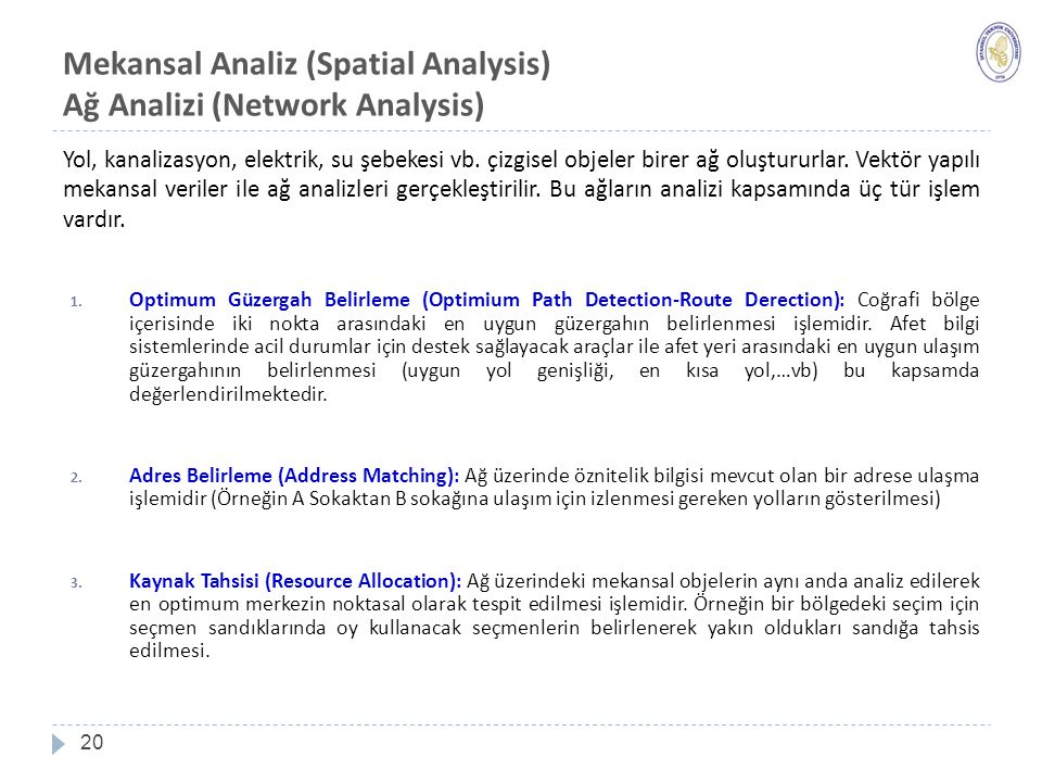 Mekansal Analiz (Spatial Analysis) Ağ Analizi (Network Analysis)