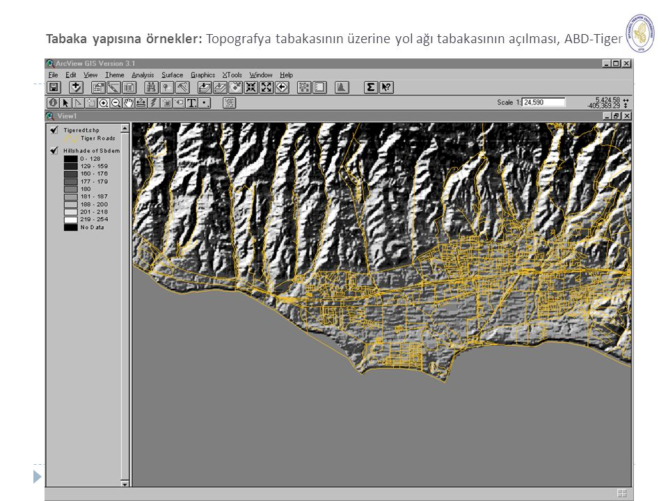 Tabaka yapısına örnekler: Topografya tabakasının üzerine yol ağı tabakasının açılması, ABD-Tiger