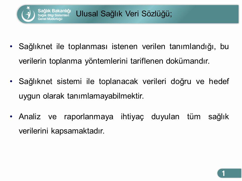 Ulusal Sağlık Veri Sözlüğü;