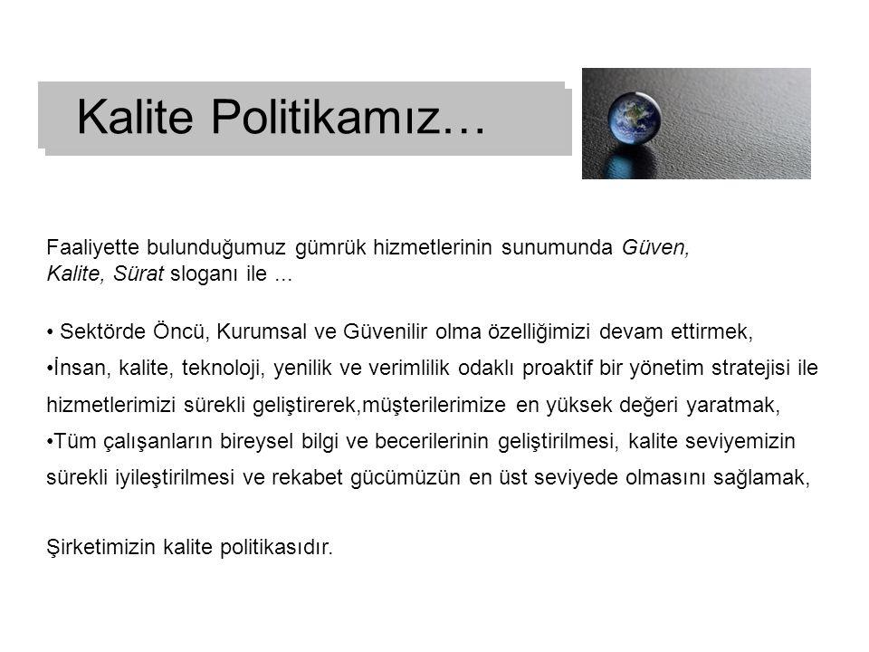 Kalite Politikamız… Faaliyette bulunduğumuz gümrük hizmetlerinin sunumunda Güven, Kalite, Sürat sloganı ile ...
