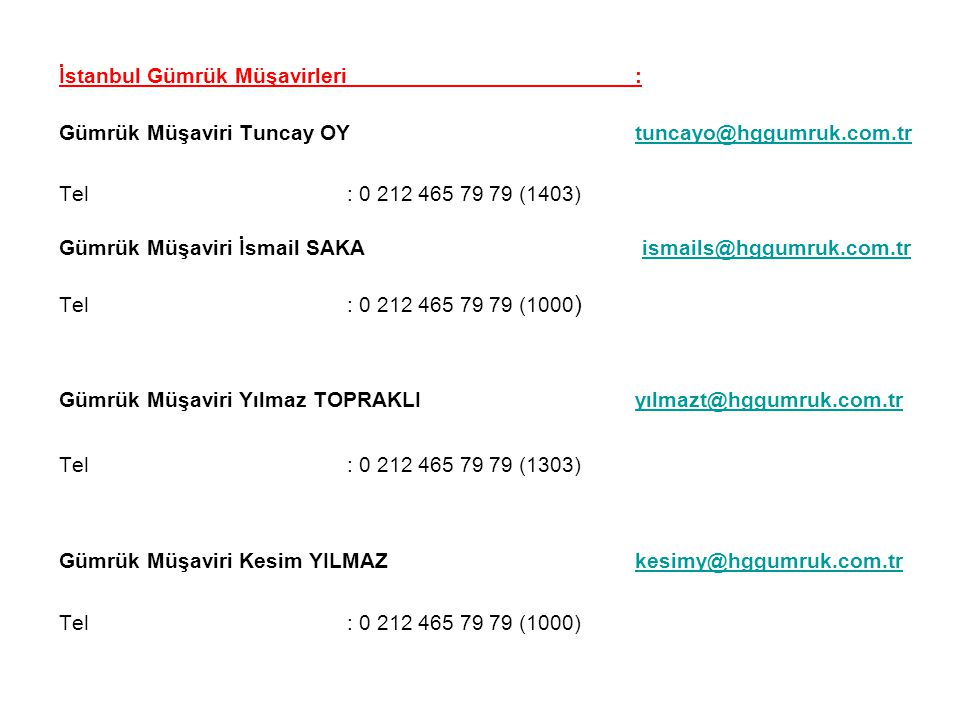 İstanbul Gümrük Müşavirleri :