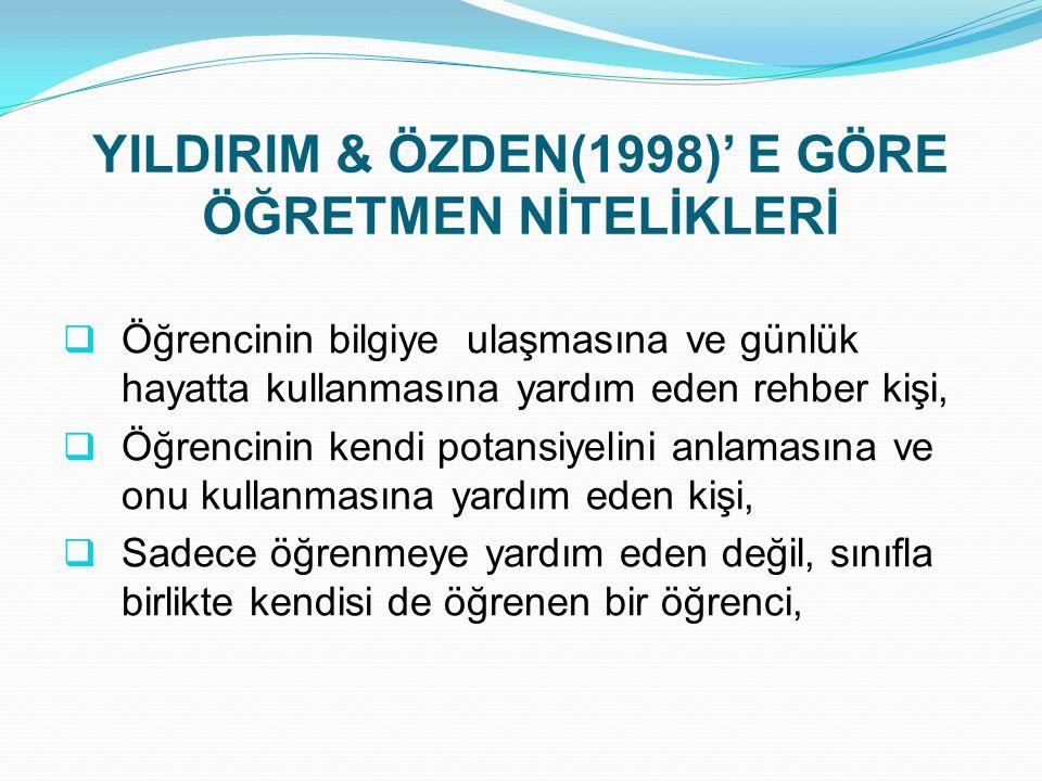 YILDIRIM & ÖZDEN(1998)' E GÖRE ÖĞRETMEN NİTELİKLERİ
