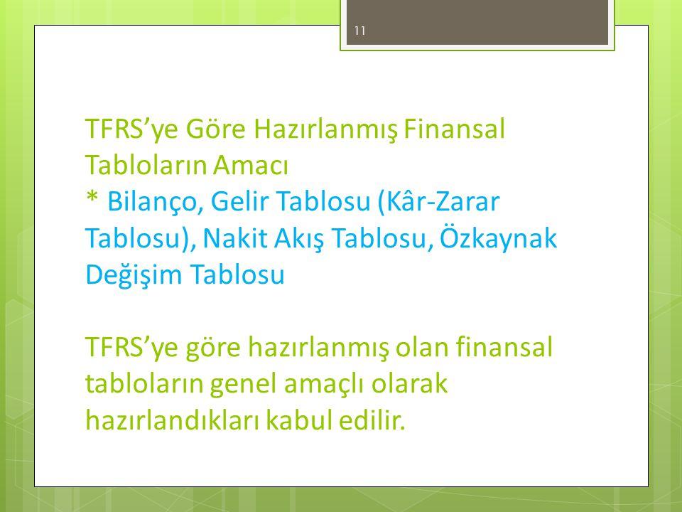 TFRS'ye Göre Hazırlanmış Finansal Tabloların Amacı