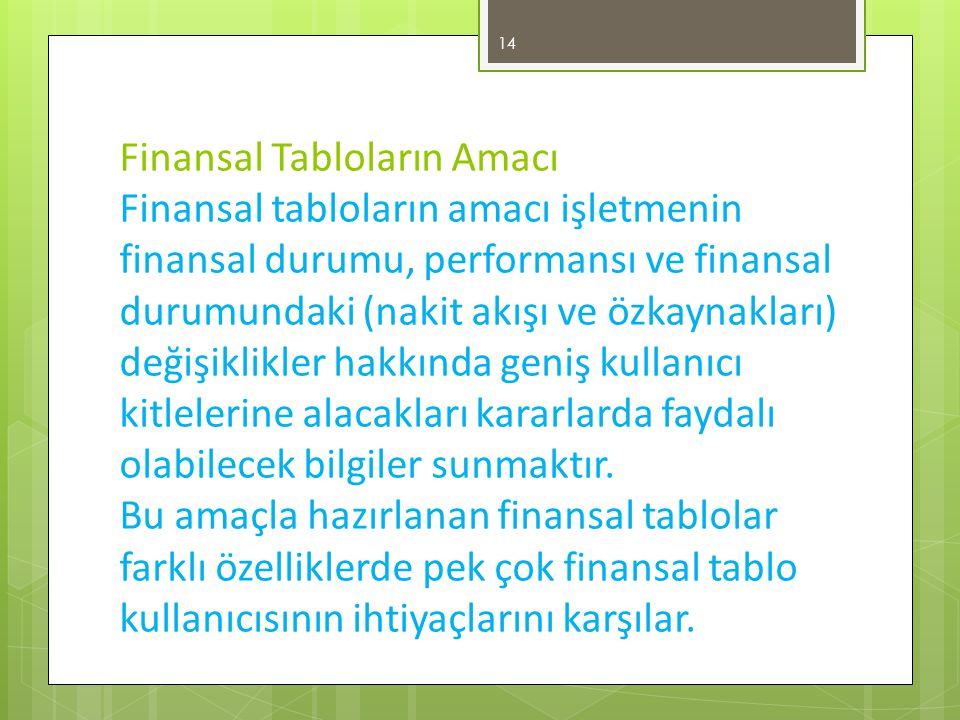 Finansal Tabloların Amacı Finansal tabloların amacı işletmenin finansal durumu, performansı ve finansal durumundaki (nakit akışı ve özkaynakları) değişiklikler hakkında geniş kullanıcı kitlelerine alacakları kararlarda faydalı olabilecek bilgiler sunmaktır.