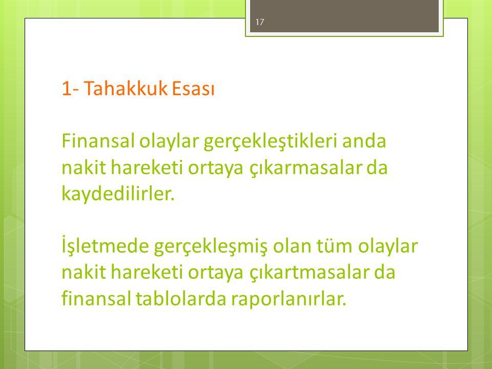 1- Tahakkuk Esası Finansal olaylar gerçekleştikleri anda nakit hareketi ortaya çıkarmasalar da kaydedilirler.