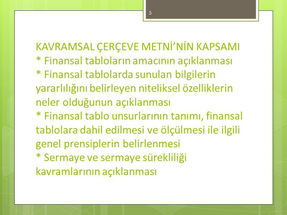 KAVRAMSAL ÇERÇEVE METNİ'NİN KAPSAMI