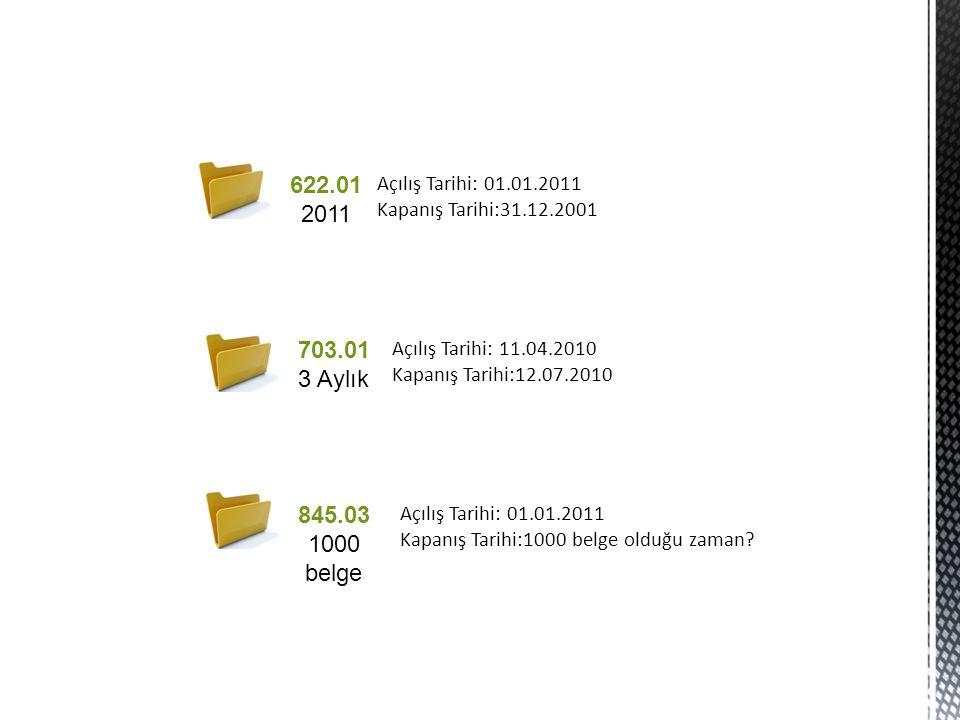 622.01 2011 703.01 3 Aylık 845.03 1000 belge Açılış Tarihi: 01.01.2011