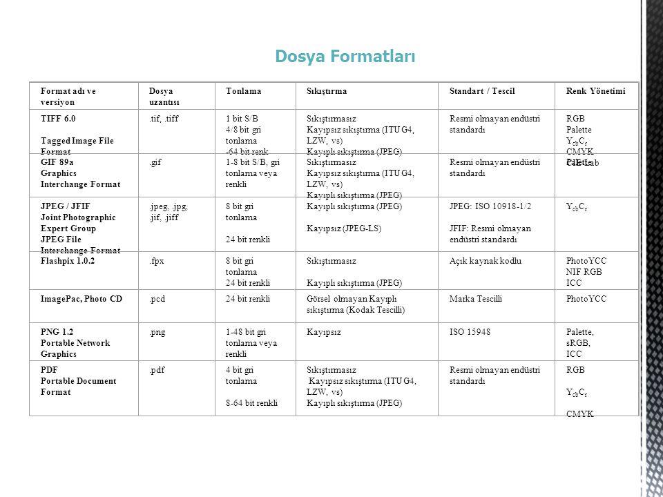 Dosya Formatları Format adı ve versiyon Dosya uzantısı Tonlama