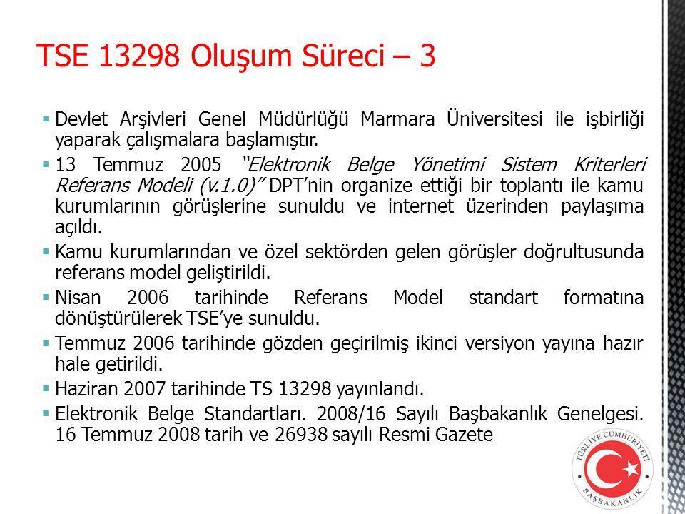 TSE 13298 Oluşum Süreci – 3 Devlet Arşivleri Genel Müdürlüğü Marmara Üniversitesi ile işbirliği yaparak çalışmalara başlamıştır.