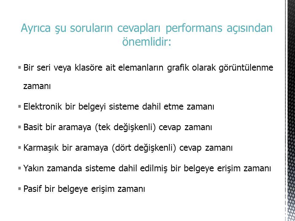 Ayrıca şu soruların cevapları performans açısından önemlidir: