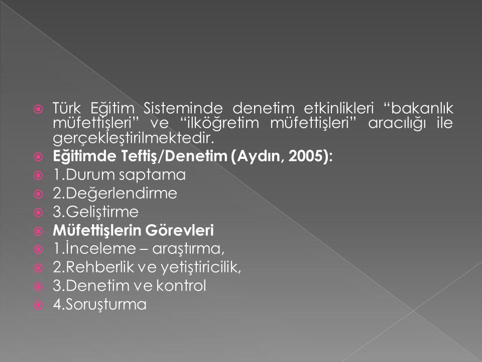 Türk Eğitim Sisteminde denetim etkinlikleri bakanlık müfettişleri ve ilköğretim müfettişleri aracılığı ile gerçekleştirilmektedir.
