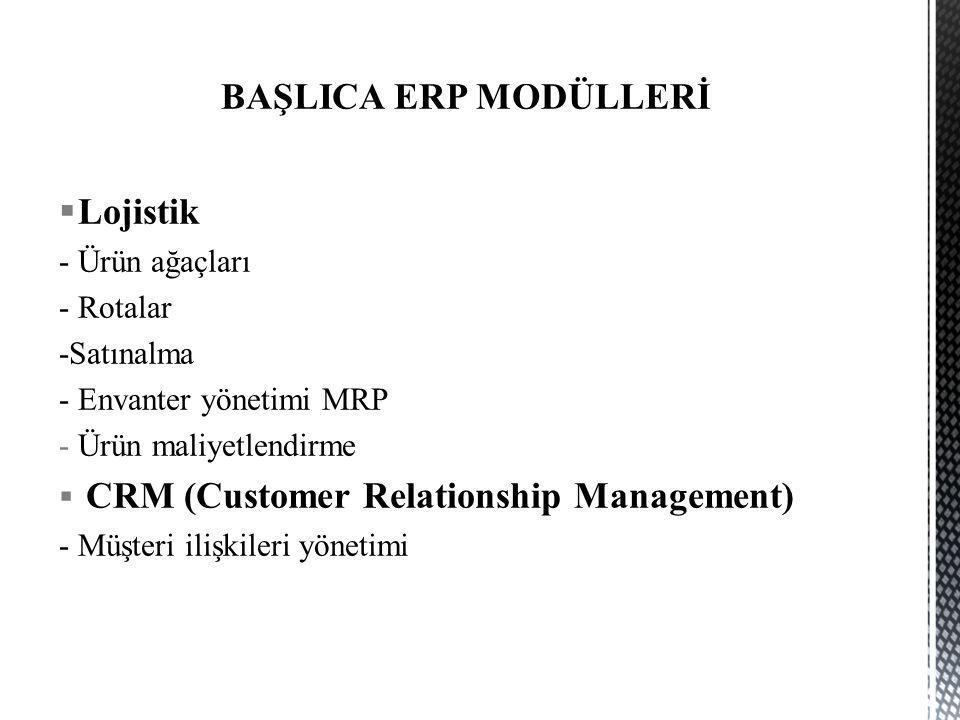 BAŞLICA ERP MODÜLLERİ Lojistik - Ürün ağaçları - Rotalar -Satınalma