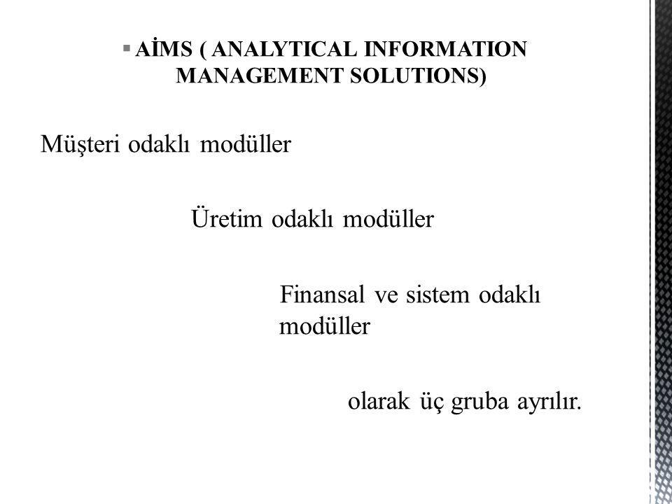 AİMS ( ANALYTICAL INFORMATION MANAGEMENT SOLUTIONS)