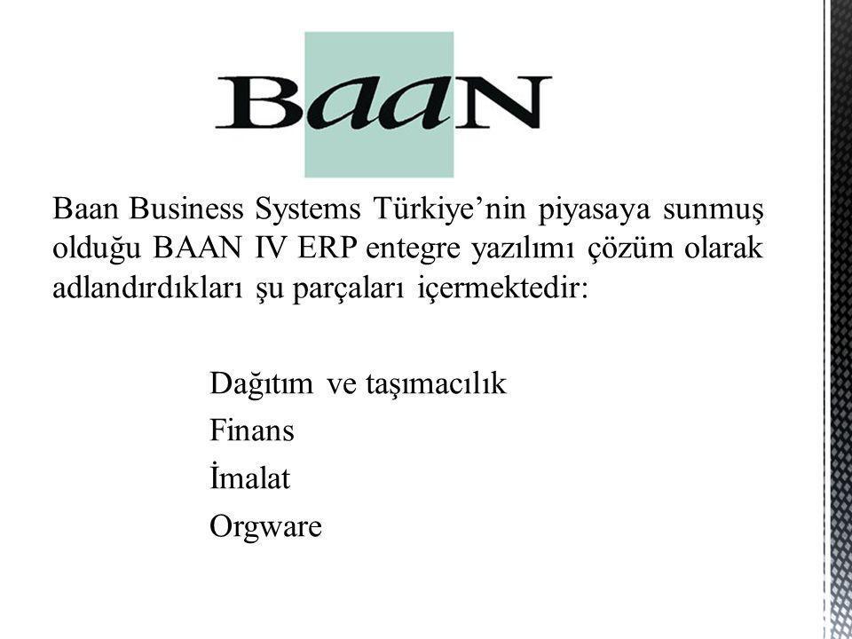 Baan Business Systems Türkiye'nin piyasaya sunmuş olduğu BAAN IV ERP entegre yazılımı çözüm olarak adlandırdıkları şu parçaları içermektedir: Dağıtım ve taşımacılık Finans İmalat Orgware