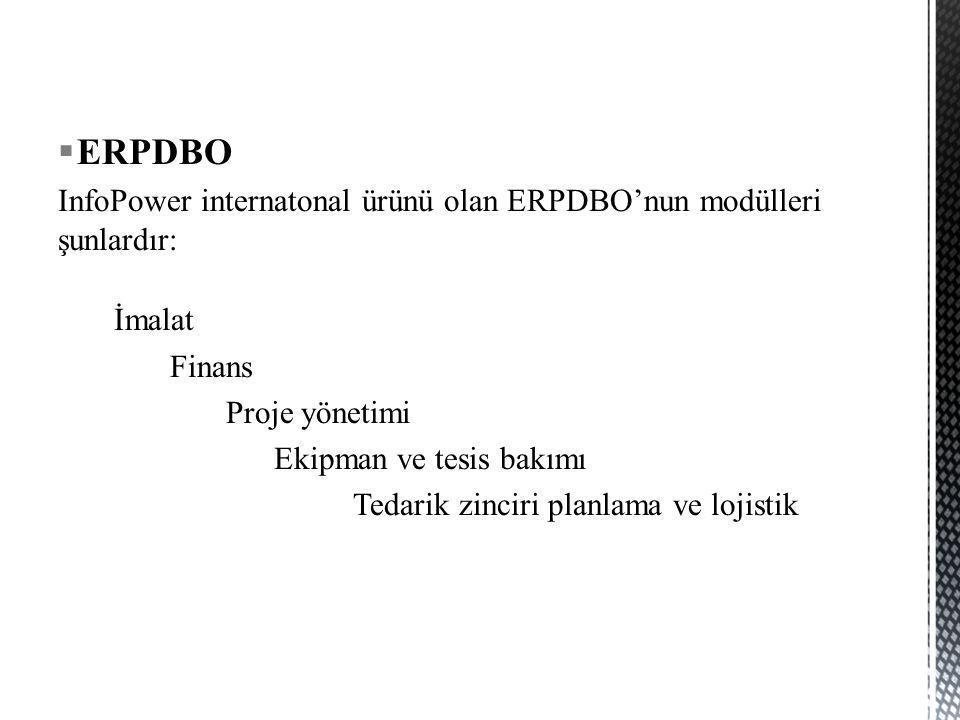 ERPDBO InfoPower internatonal ürünü olan ERPDBO'nun modülleri şunlardır: İmalat. Finans. Proje yönetimi.