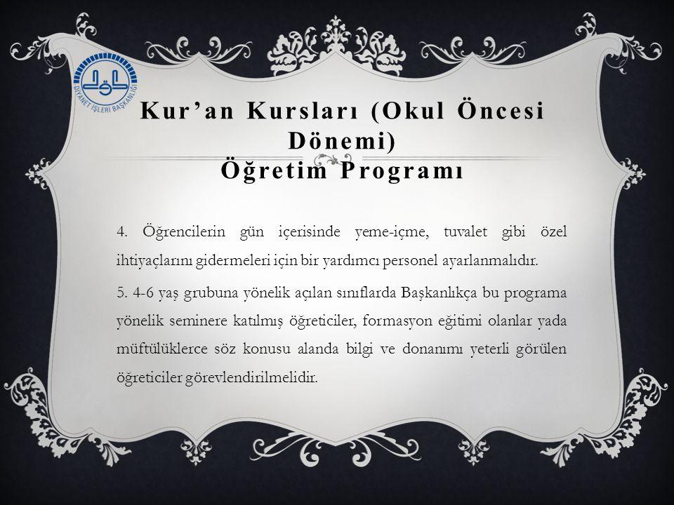 Kur'an Kursları (Okul Öncesi Dönemi) Öğretim Programı