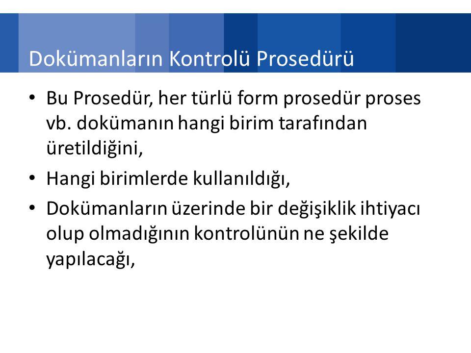 Dokümanların Kontrolü Prosedürü