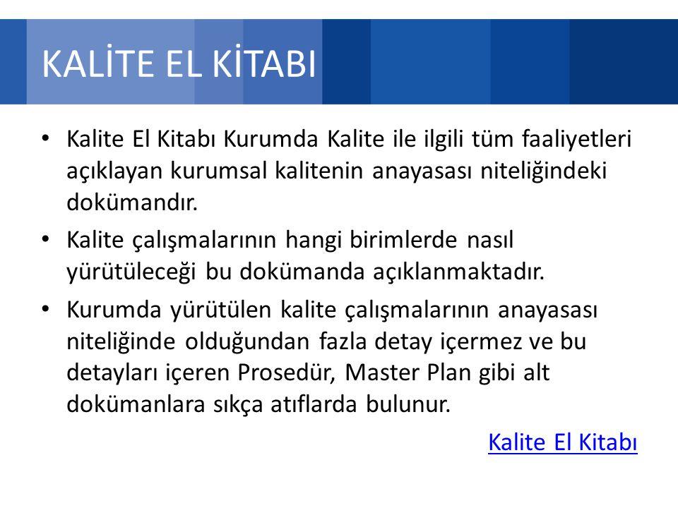 KALİTE EL KİTABI Kalite El Kitabı Kurumda Kalite ile ilgili tüm faaliyetleri açıklayan kurumsal kalitenin anayasası niteliğindeki dokümandır.