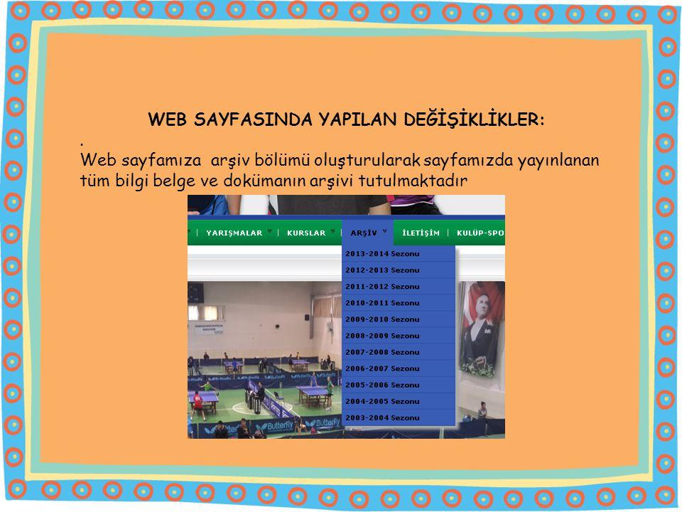 WEB SAYFASINDA YAPILAN DEĞİŞİKLİKLER: