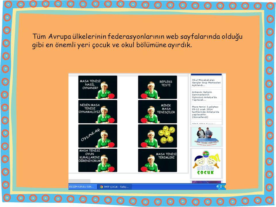 Tüm Avrupa ülkelerinin federasyonlarının web sayfalarında olduğu gibi en önemli yeri çocuk ve okul bölümüne ayırdık.