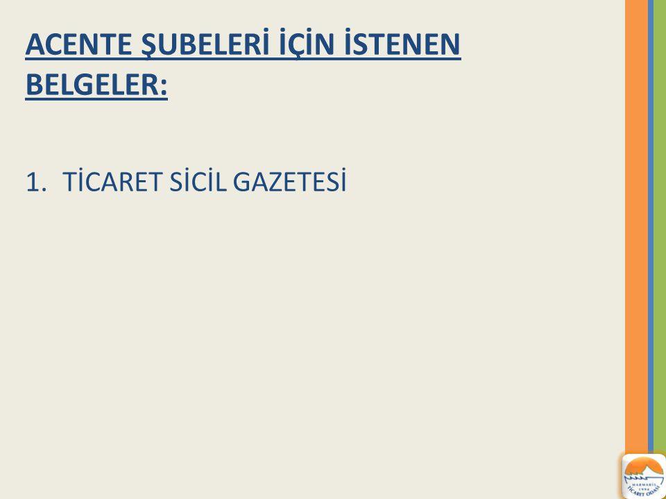 ACENTE ŞUBELERİ İÇİN İSTENEN BELGELER: