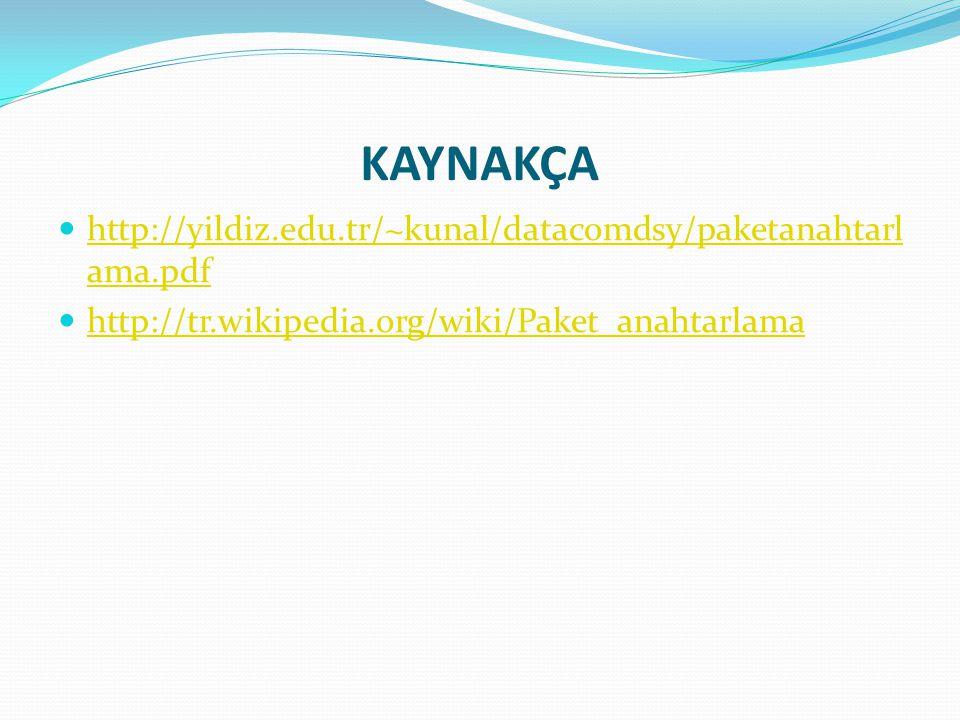 KAYNAKÇA http://yildiz.edu.tr/~kunal/datacomdsy/paketanahtarlama.pdf