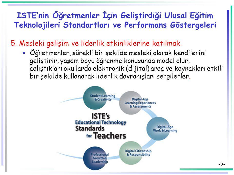 ISTE'nin Öğretmenler İçin Geliştirdiği Ulusal Eğitim Teknolojileri Standartları ve Performans Göstergeleri