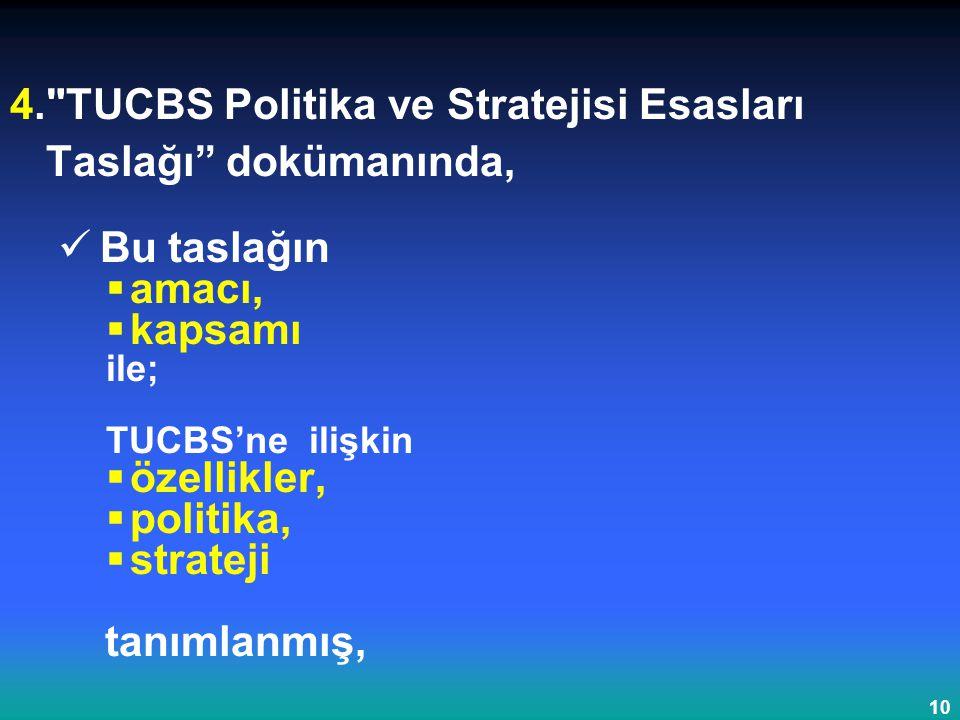 4. TUCBS Politika ve Stratejisi Esasları Taslağı dokümanında,