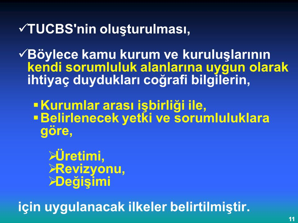 TUCBS nin oluşturulması,
