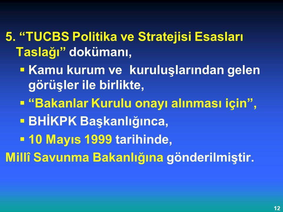 5. TUCBS Politika ve Stratejisi Esasları Taslağı dokümanı,