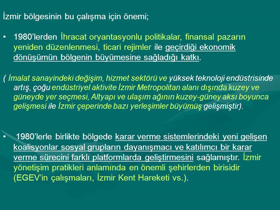 İzmir bölgesinin bu çalışma için önemi;