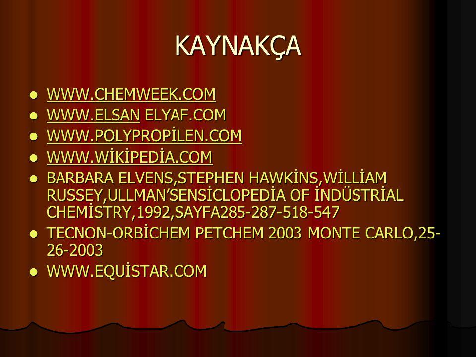 KAYNAKÇA WWW.CHEMWEEK.COM WWW.ELSAN ELYAF.COM WWW.POLYPROPİLEN.COM