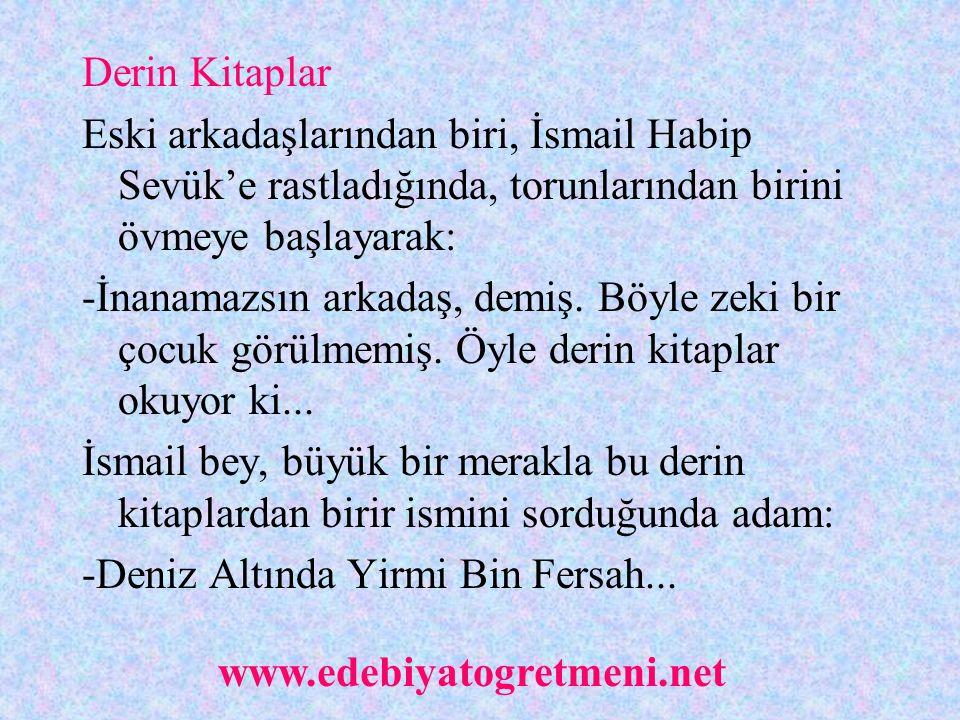 Derin Kitaplar Eski arkadaşlarından biri, İsmail Habip Sevük'e rastladığında, torunlarından birini övmeye başlayarak: