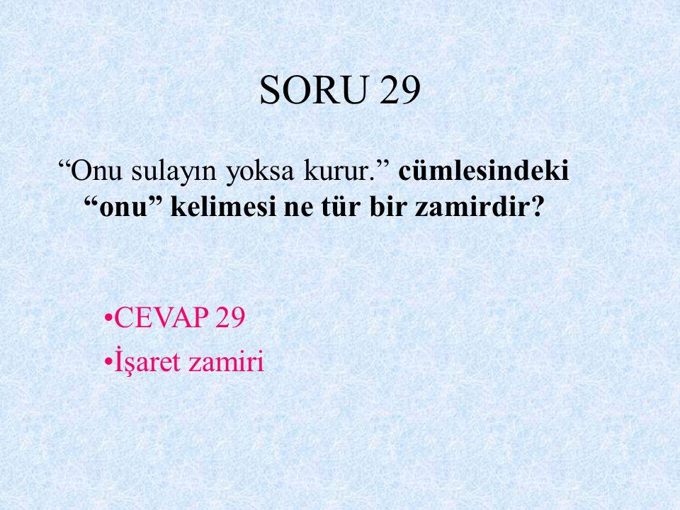 SORU 29 Onu sulayın yoksa kurur. cümlesindeki onu kelimesi ne tür bir zamirdir.