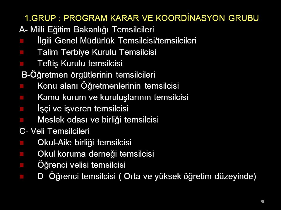1.GRUP : PROGRAM KARAR VE KOORDİNASYON GRUBU