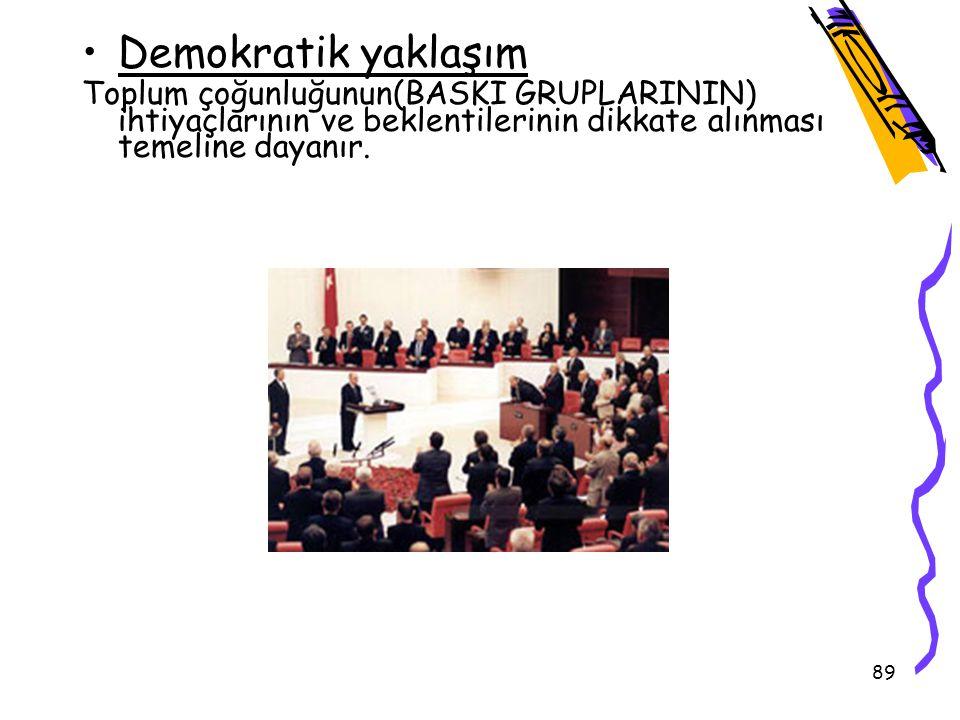 Demokratik yaklaşım Toplum çoğunluğunun(BASKI GRUPLARININ) ihtiyaçlarının ve beklentilerinin dikkate alınması temeline dayanır.