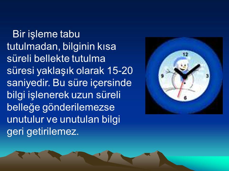 Bir işleme tabu tutulmadan, bilginin kısa süreli bellekte tutulma süresi yaklaşık olarak 15-20 saniyedir.
