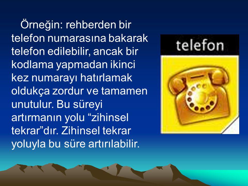 Örneğin: rehberden bir telefon numarasına bakarak telefon edilebilir, ancak bir kodlama yapmadan ikinci kez numarayı hatırlamak oldukça zordur ve tamamen unutulur.