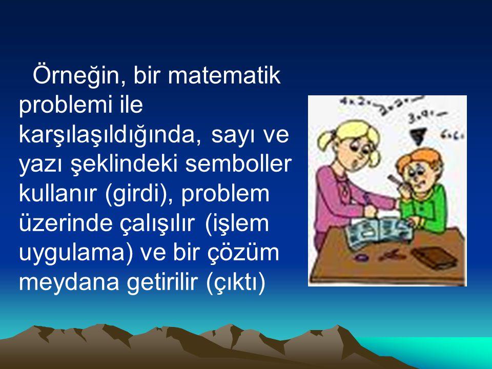 Örneğin, bir matematik problemi ile karşılaşıldığında, sayı ve yazı şeklindeki semboller kullanır (girdi), problem üzerinde çalışılır (işlem uygulama) ve bir çözüm meydana getirilir (çıktı)
