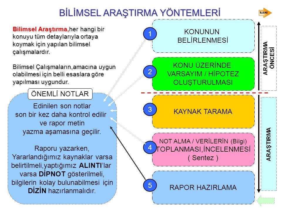 BİLİMSEL ARAŞTIRMA YÖNTEMLERİ