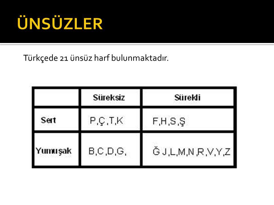 ÜNSÜZLER Türkçede 21 ünsüz harf bulunmaktadır.
